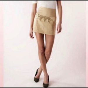 Free People Tan Color Sequins Design Skirt Size 4